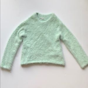H&M mint green sweater girls 12-14Y furry comfy